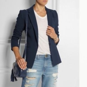 J Crew Single-button Jacket In Bonded Crepe